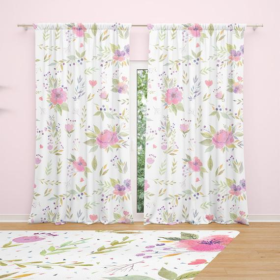Watercolor Floral Window Curtains – Sheer Curtains Or Blackout Curtains For  Baby Girl Nursery, Bedroom Decor Or Living Room Decor (View 44 of 46)