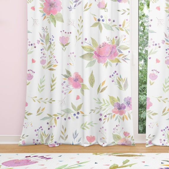 Watercolor Floral Window Curtains – Sheer Curtains Or Blackout Curtains For  Baby Girl Nursery, Bedroom Decor Or Living Room Decor (View 43 of 46)