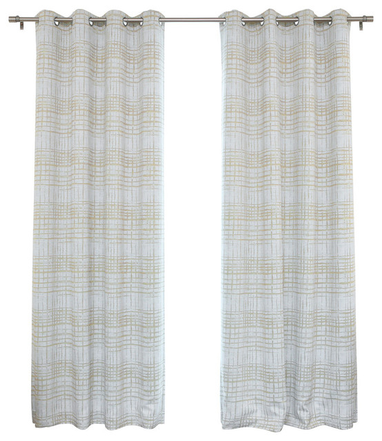 Watercolor Plaid Print Grommet Top Curtain Pair With Regard To Caldwell Curtain Panel Pairs (View 27 of 27)