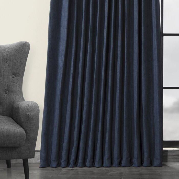Waubun Faux Linen Extra Wide Solid Color Blackout Rod Pocket Single Curtain  Panel Pertaining To Faux Linen Extra Wide Blackout Curtains (View 42 of 50)