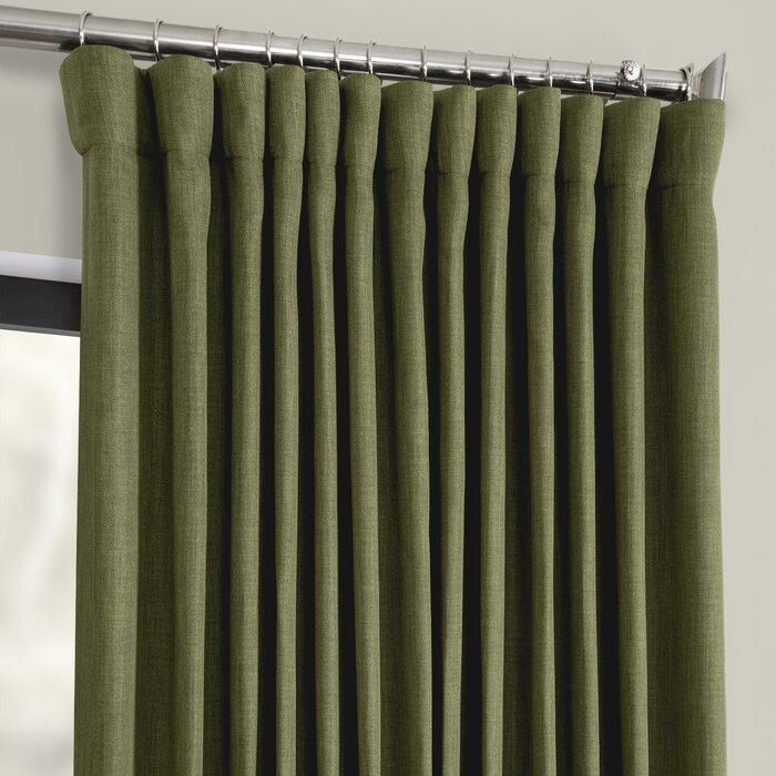 Waubun Faux Linen Extra Wide Solid Color Blackout Rod Pocket Single Curtain  Panel Throughout Faux Linen Extra Wide Blackout Curtains (View 43 of 50)