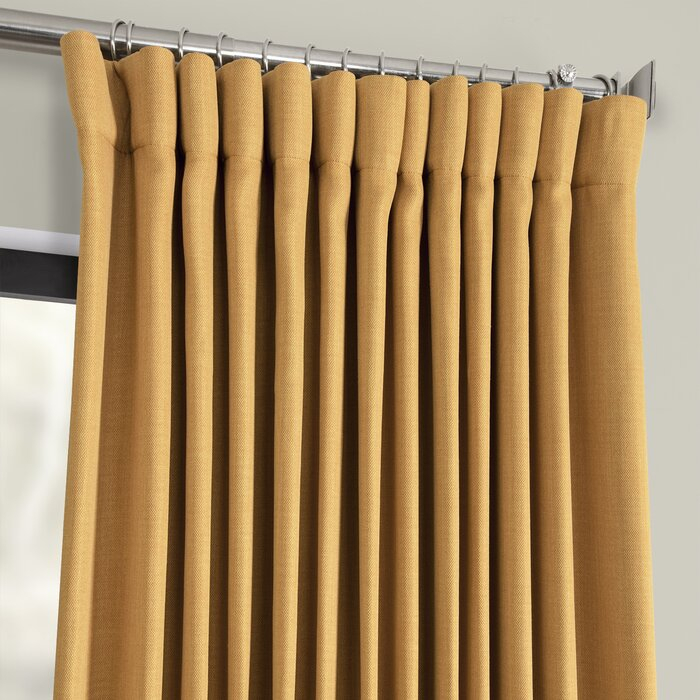 Waubun Faux Linen Extra Wide Solid Color Blackout Rod Pocket Single Curtain  Panel With Faux Linen Extra Wide Blackout Curtains (View 45 of 50)