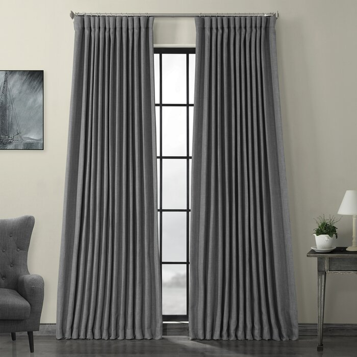 Popular Photo of Faux Linen Extra Wide Blackout Curtains