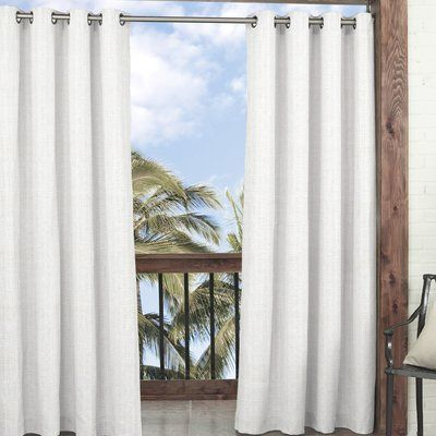 Waverly Key Largo Solid Semi Sheer Indoor/outdoor Grommet Pertaining To Davis Patio Grommet Top Single Curtain Panels (View 8 of 39)