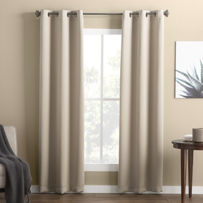 Wayfair Basics Solid Blackout Grommet Single Curtain Panel Regarding Single Curtain Panels (View 3 of 36)