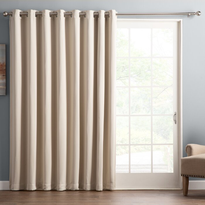 Wayfair Basics Solid Blackout Grommet Single Patio Curtain Panel In Warm Black Velvet Single Blackout Curtain Panels (#46 of 48)