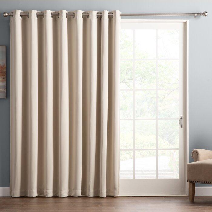 Wayfair Basics Solid Blackout Grommet Single Patio Curtain Panel Throughout Patio Grommet Top Single Curtain Panels (View 2 of 38)