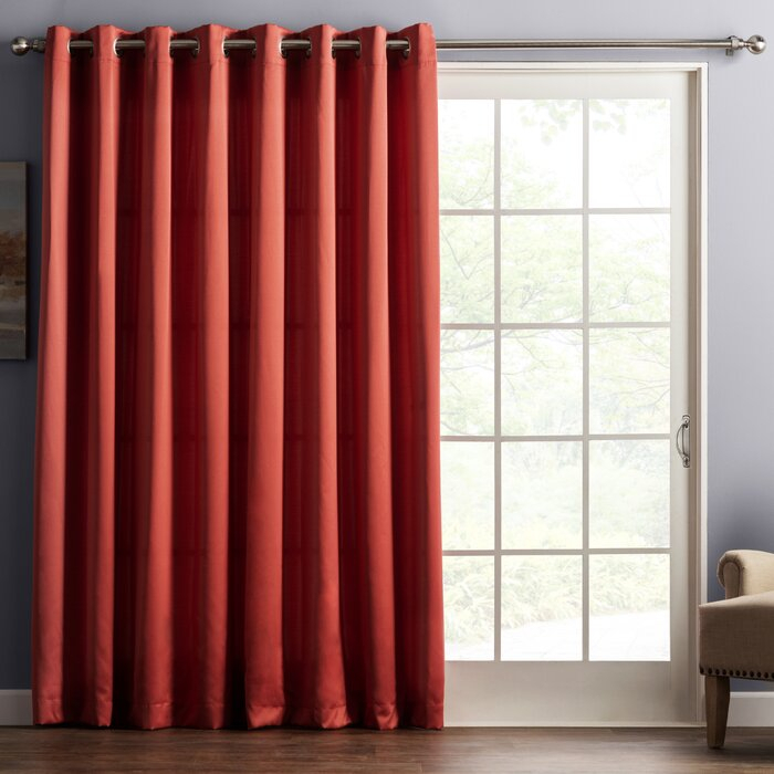 Wayfair Basics Solid Room Darkening Grommet Single Patio Curtain Panel Inside Grommet Blackout Patio Door Window Curtain Panels (View 47 of 50)