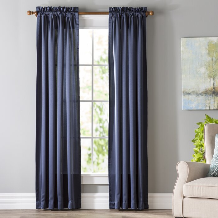 Wayfair Basics Solid Room Darkening Rod Pocket Single Curtain Panel Throughout Single Curtain Panels (View 5 of 36)