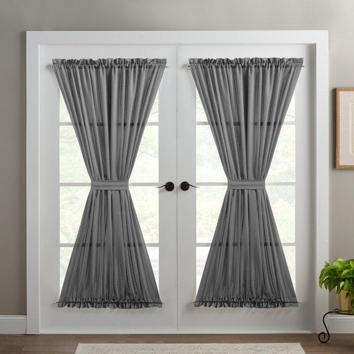 Wayfair Basics Solid Room Darkening Thermal Rod Pocket Single Curtain Door  Panel Pertaining To Emily Sheer Voile Solid Single Patio Door Curtain Panels (View 48 of 50)
