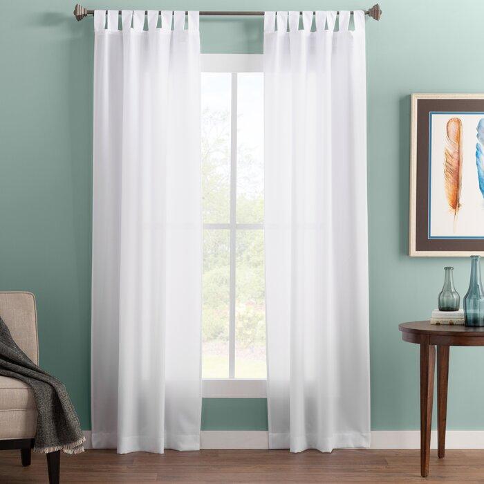 Wayfair Basics Solid Semi Sheer Tab Top Single Curtain Panel With Regard To Tab Top Sheer Single Curtain Panels (View 20 of 50)