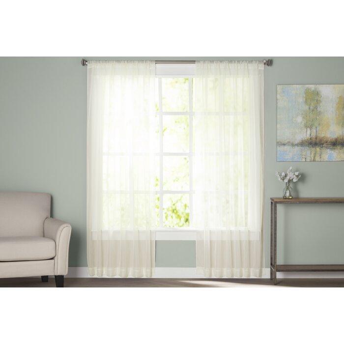 Wayfair Basics Solid Sheer Rod Pocket Curtain Panels Throughout Rod Pocket Curtain Panels (View 32 of 34)