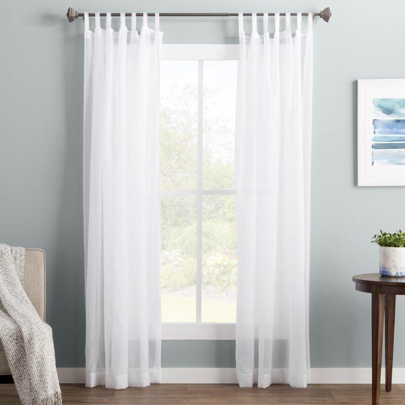 Wayfair Basics Solid Sheer Tab Top Single Curtain Panel Regarding Tab Top Sheer Single Curtain Panels (View 13 of 50)