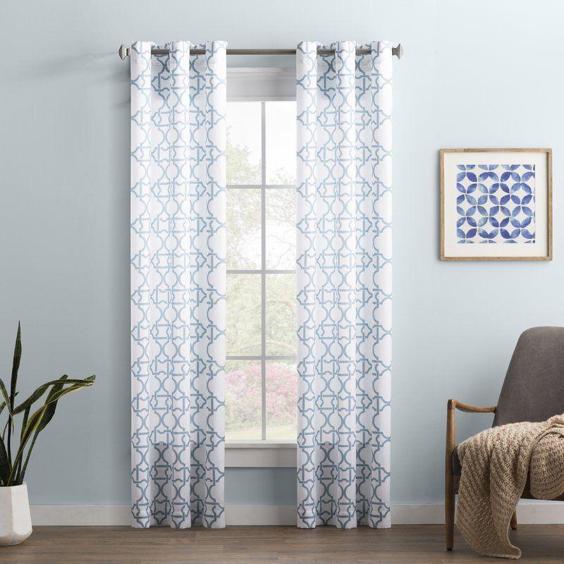 Wayfair Basics Trellis Semi Sheer Grommet Single Curtain Panel Intended For Sunsmart Dahlia Paisley Printed Total Blackout Single Window Curtain Panels (View 44 of 45)