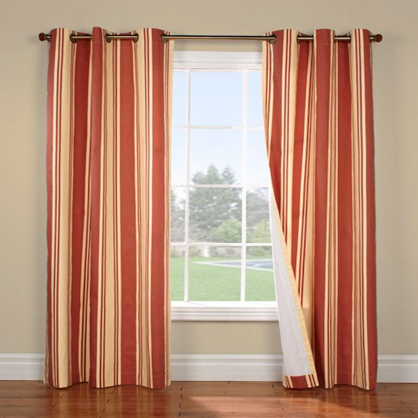 Weathermate Broadstripe Terracotta/beige Insulated For Insulated Cotton Curtain Panel Pairs (#46 of 50)
