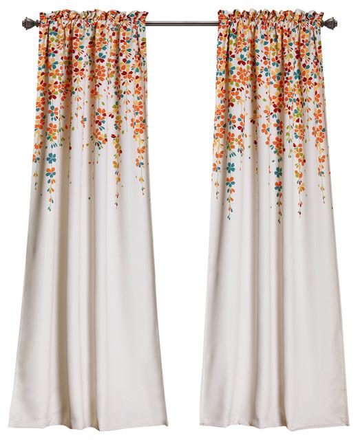 "Weeping Flower Room Darkening Wp Turq/tangerine Pair, 95""x52""x2"" With Regard To Floral Pattern Room Darkening Window Curtain Panel Pairs (View 40 of 44)"