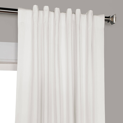 Whisper White 120 X 50 Inch Solid Cotton Blackout Curtain Single Panel Within Solid Cotton True Blackout Curtain Panels (#47 of 50)