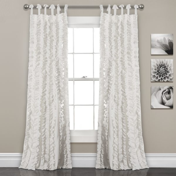 White 84'x40' Sophia Ruffle Window Curtain Set In Lydia Ruffle Window Curtain Panel Pairs (View 9 of 43)