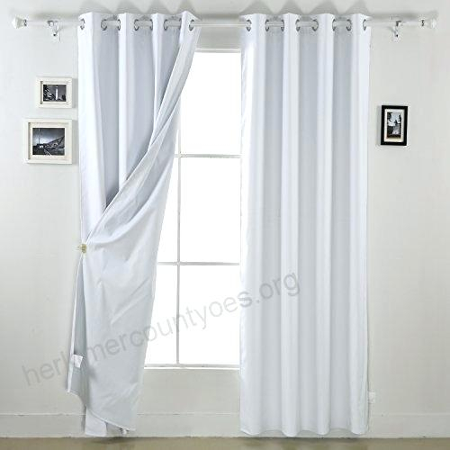 White Blackout Curtain Panels With Thermal Insulated Blackout Grommet Top Curtain Panel Pairs (#49 of 50)