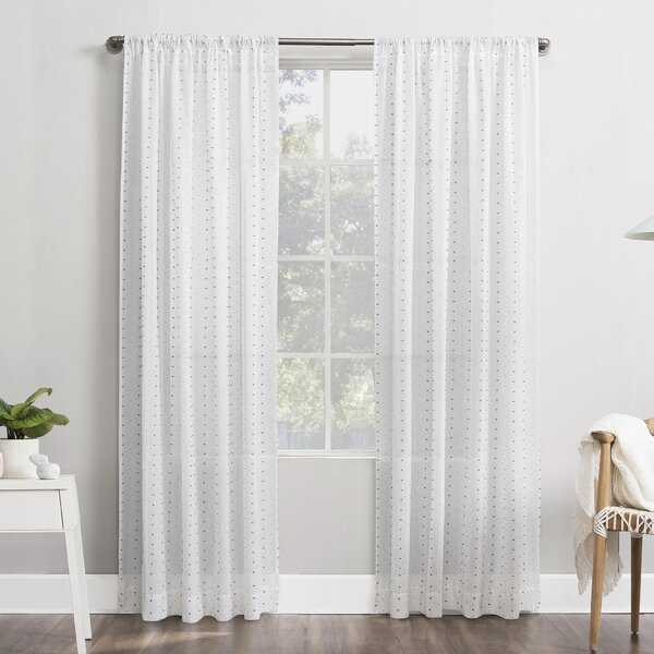 White Dotted Swiss Curtains | Wayfair In Double Layer Sheer White Single Curtain Panels (View 50 of 50)