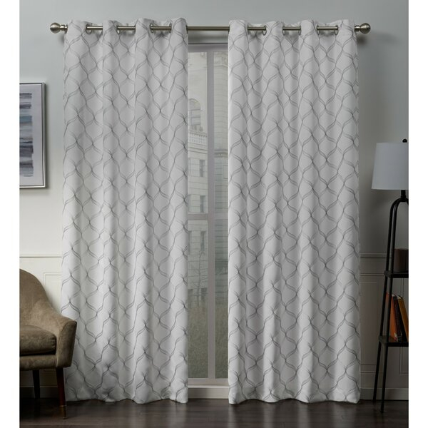 White Embroidered Curtains | Wayfair For Wavy Leaves Embroidered Sheer Extra Wide Grommet Curtain Panels (#40 of 50)