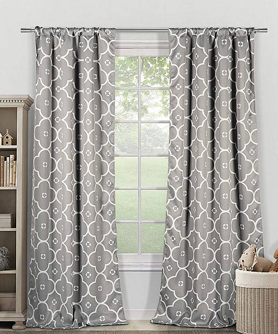 White & Gray Geo Heavy Blackout Curtain Panel – Set Of Two For Edward Moroccan Pattern Room Darkening Curtain Panel Pairs (View 48 of 50)