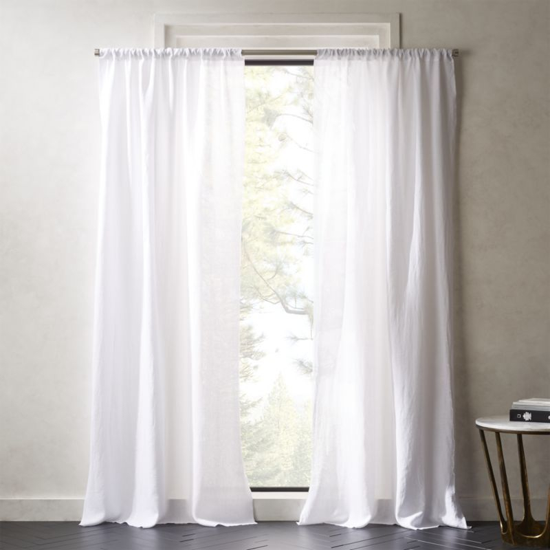 White Linen Curtains | Cb2 For Elrene Jolie Tie Top Curtain Panels (#35 of 35)