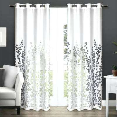 White Patterned Sheer Curtains – Lifestudios Within Overseas Leaf Swirl Embroidered Curtain Panel Pairs (View 38 of 50)