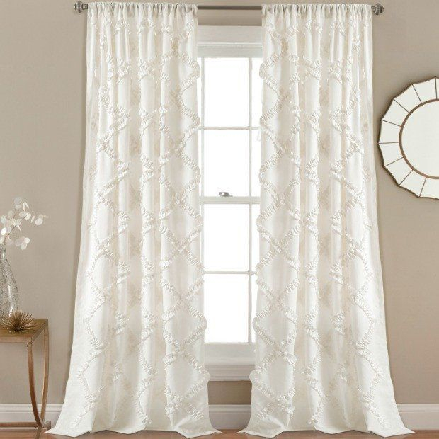 White Ruffle Diamond Curtain Panel, Set Of 2   The Afh Items For Ruffle Diamond Curtain Panel Pairs (View 3 of 50)