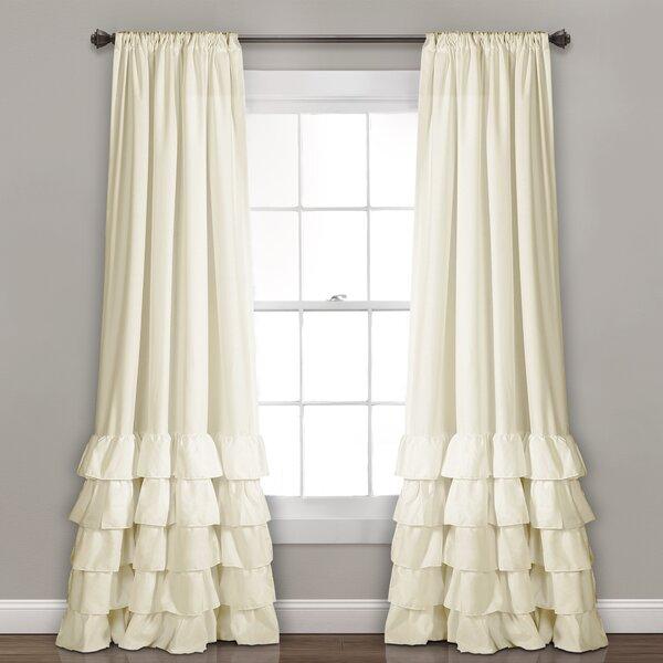 White Ruffled Curtains   Wayfair Throughout Ruffle Diamond Curtain Panel Pairs (View 47 of 50)