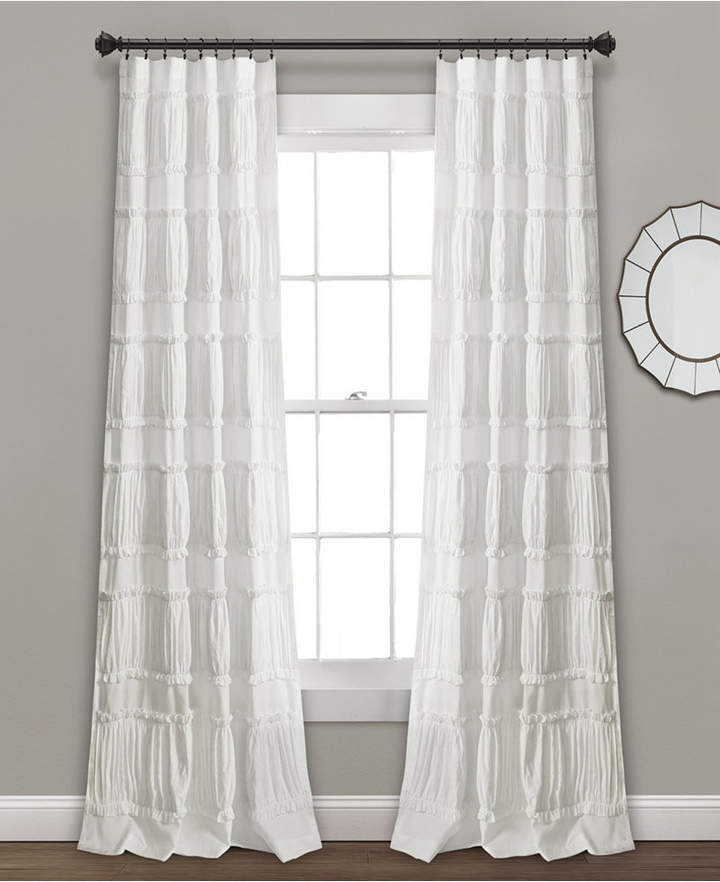 White Ruffled Window Curtains – Shopstyle For Lydia Ruffle Window Curtain Panel Pairs (View 17 of 43)