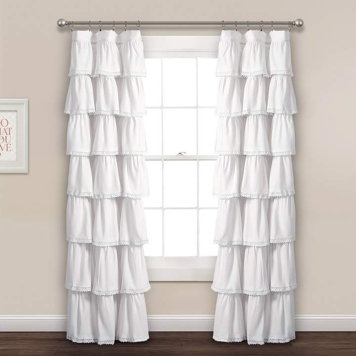White Ruffled Window Curtains – Shopstyle For Ruffle Diamond Curtain Panel Pairs (View 28 of 50)