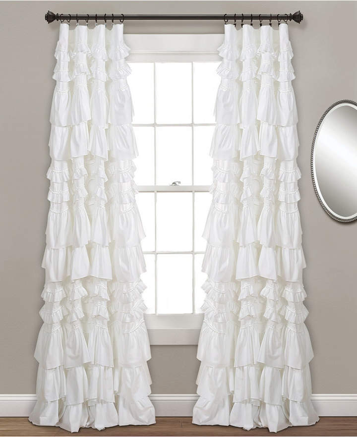 White Ruffled Window Curtains – Shopstyle Inside Lydia Ruffle Window Curtain Panel Pairs (View 27 of 43)