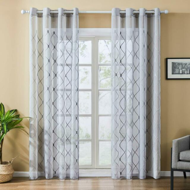 White Sheer Curtains Diamond Embroidered Grommet Window Curtains Bedroom,2 Panel Pertaining To Ruffle Diamond Curtain Panel Pairs (View 25 of 50)