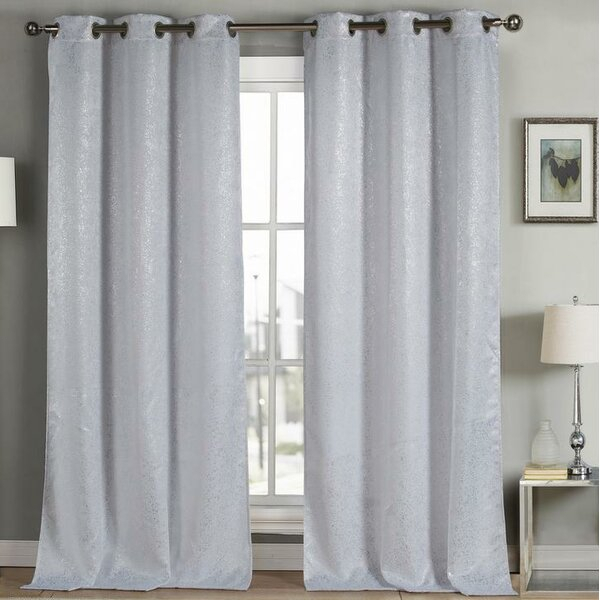 White Sparkle Curtains | Wayfair Throughout Antique Silver Grommet Top Thermal Insulated Blackout Curtain Panel Pairs (View 39 of 40)