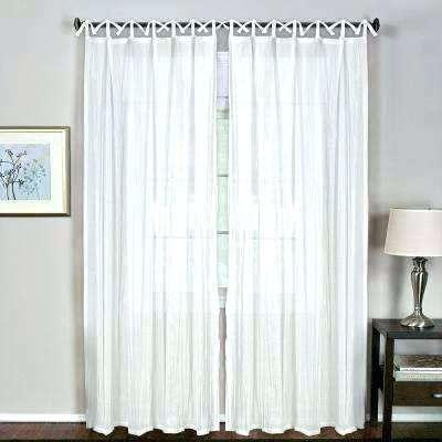 White Tab Top Curtains L Crushed Sheer Tie Loop N Blackout For Tab Top Sheer Single Curtain Panels (View 40 of 50)