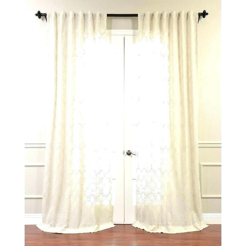 White Tab Top Curtains Linen Tie Faux Border Next Cotton For Linen Button Window Curtains Single Panel (#37 of 40)