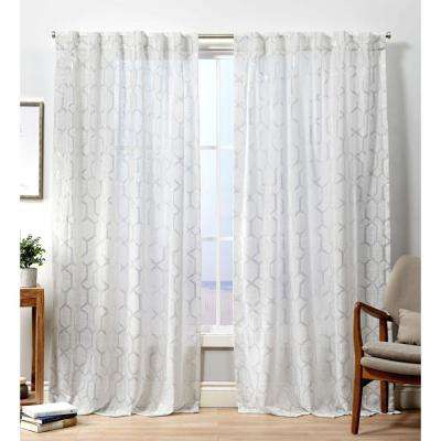 White – Trellis – Curtains & Drapes – Window Treatments With Regard To Bethany Sheer Overlay Blackout Window Curtains (View 49 of 50)