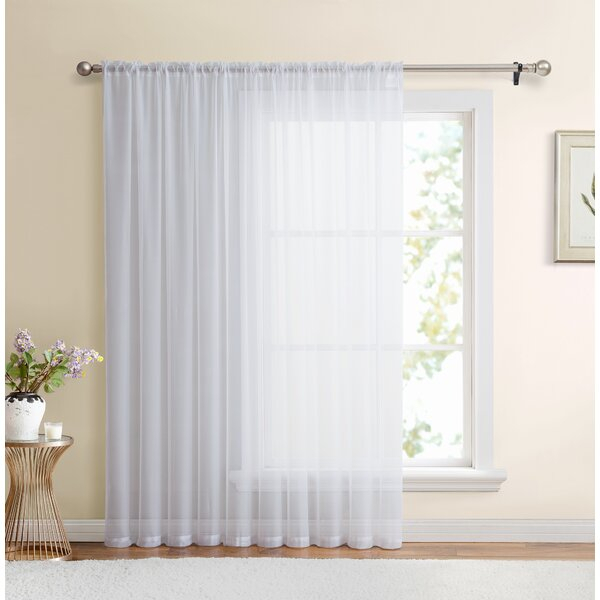White Window Sheers | Wayfair Inside Emily Sheer Voile Solid Single Patio Door Curtain Panels (View 50 of 50)