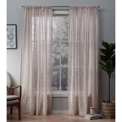 Willa Arlo Interiors Britain Geometric Sheer Rod Pocket Regarding Kaylee Solid Crushed Sheer Window Curtain Pairs (#37 of 40)