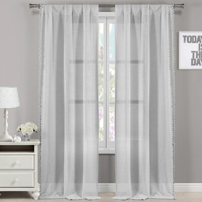 Willa Arlo Interiors Frey Pom Pom Solid Semi Sheer Rod Inside Ladonna Rod Pocket Solid Semi Sheer Window Curtain Panels (View 5 of 47)