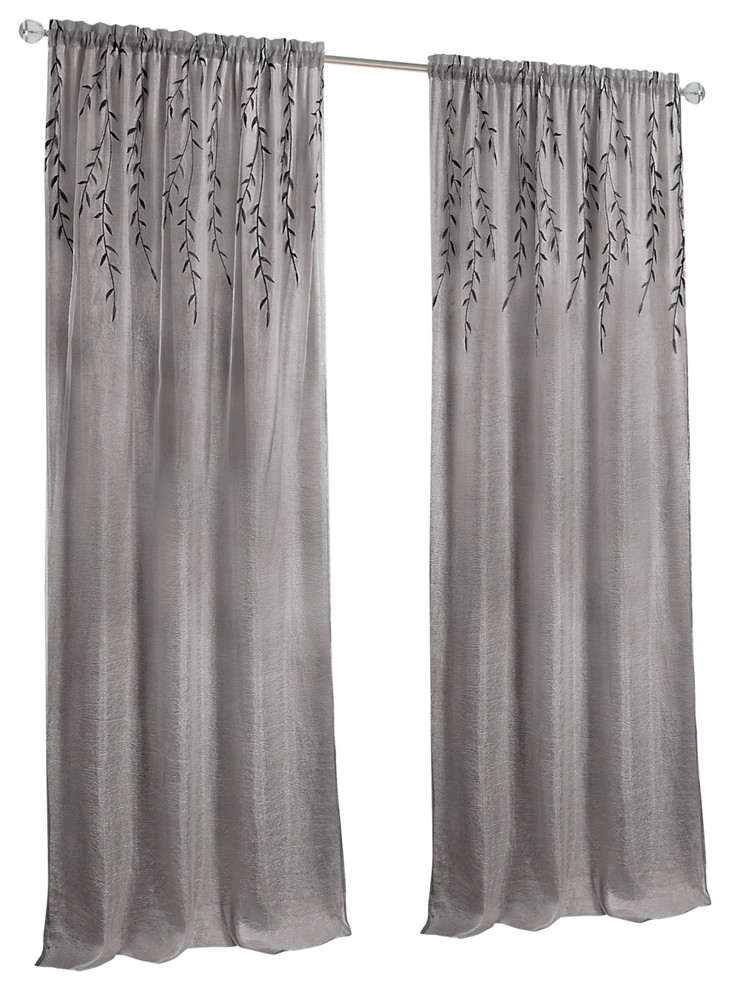 """Willow Rod Pocket Window Curtain Panel, 42""""x63"""", Gray With Regard To Heritage Plush Velvet Single Curtain Panels (View 49 of 50)"""