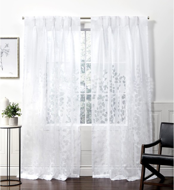 Wilshire Burnout Sheer Pinch Pleat Curtain Panel Pair, Winter White, 27X108 Intended For Wilshire Burnout Grommet Top Curtain Panel Pairs (#45 of 45)