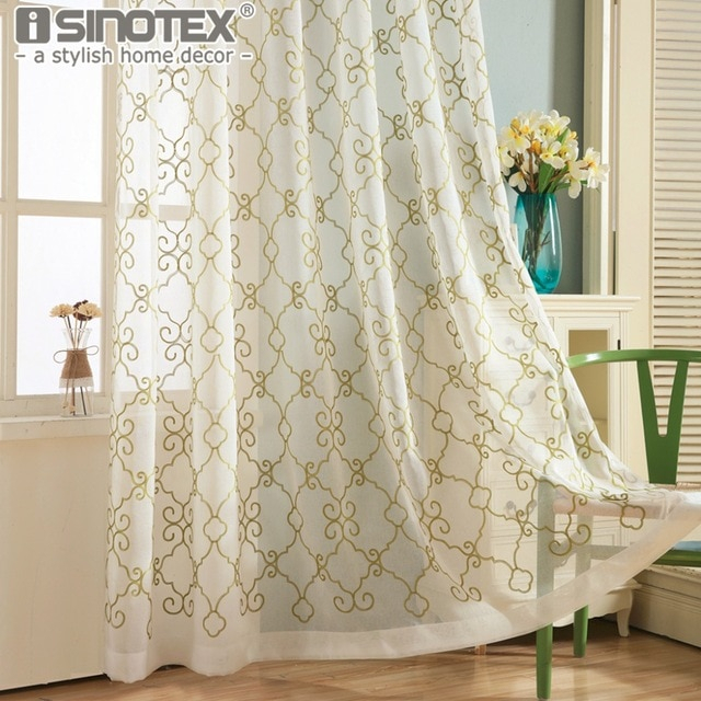 Window Curtain Voile Sheer Curtain Floral Embroidery Tulle Pertaining To Kida Embroidered Sheer Curtain Panels (#50 of 50)