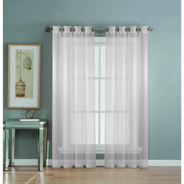 Window Elements Diamond Sheer Voile Extra Wide Grommet Curtain Panel, 56 X  90 In For Wavy Leaves Embroidered Sheer Extra Wide Grommet Curtain Panels (#47 of 50)