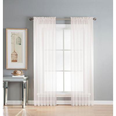 Window Elements Sheer Diamond Sheer Voile Extra Wide 84 In Pertaining To Extra Wide White Voile Sheer Curtain Panels (View 50 of 50)
