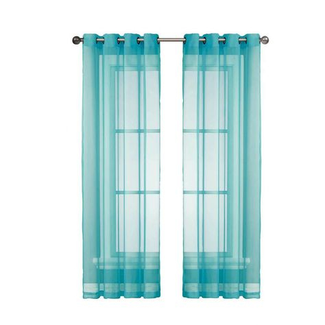 Window Elements Sheer Diamond Sheer Voile Turquoise Grommet Intended For Wavy Leaves Embroidered Sheer Extra Wide Grommet Curtain Panels (#49 of 50)