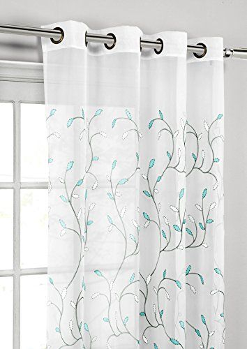 Popular Photo of Wavy Leaves Embroidered Sheer Extra Wide Grommet Curtain Panels