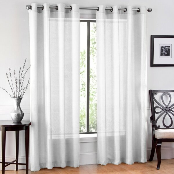 Window Sheet Solid Sheer Grommet Curtain Panels Intended For Luxury Collection Cranston Sheer Curtain Panel Pairs (View 42 of 42)