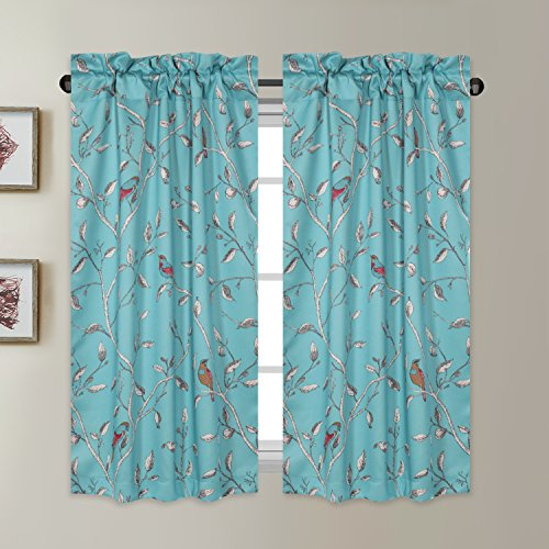 Window Treatment Short Curtains – Pair Of Home Decor Thermal Insulated  Energy Smart Half Window Drapes Blackout Rod Pocket Curtain Panels –  Turquoise Pertaining To Thermal Rod Pocket Blackout Curtain Panel Pairs (#50 of 50)